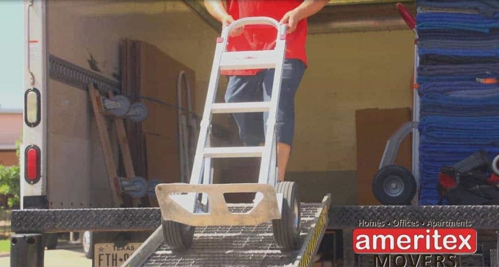 Ameritex Movers loading and unloading rental truck