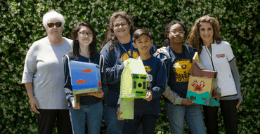 youngblood students with birdhouses