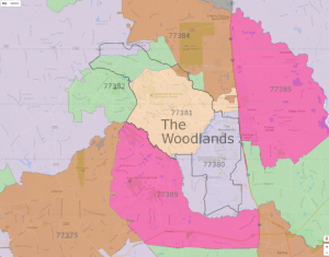 woodlands zip code map