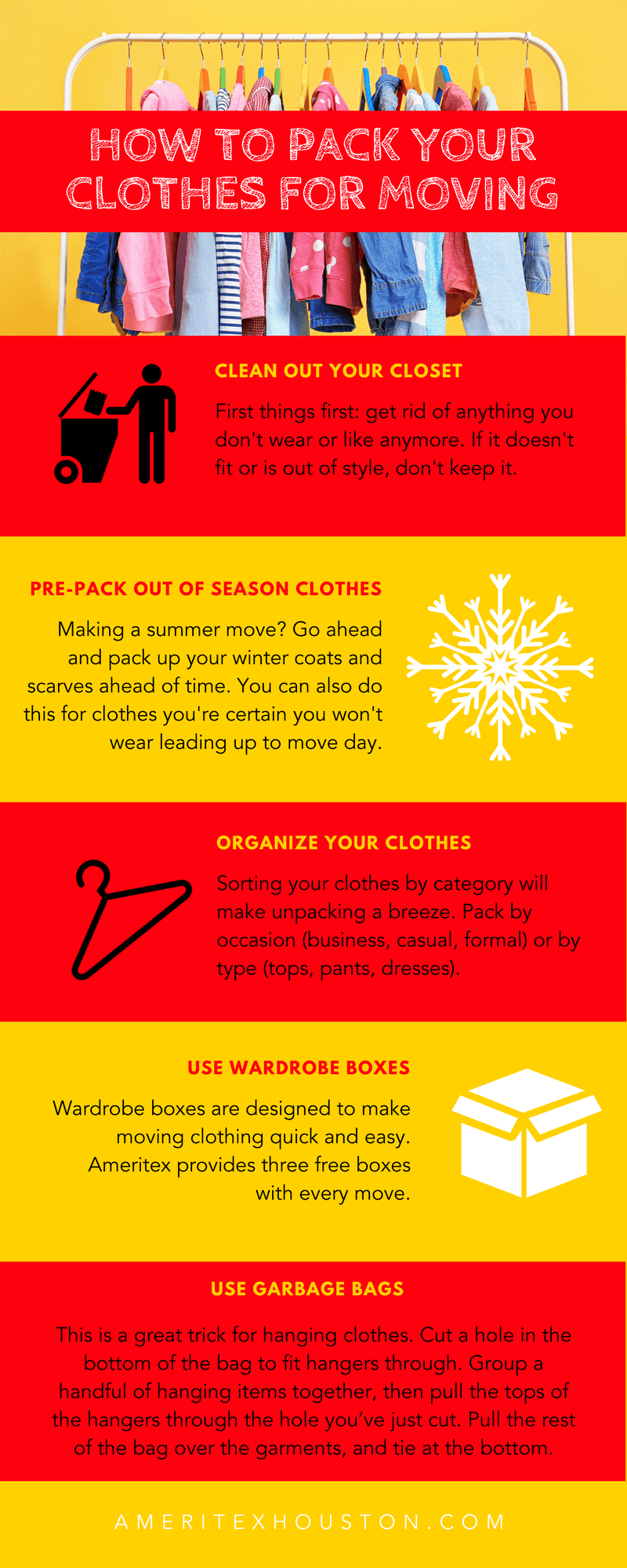 infographic packing clothes for moving