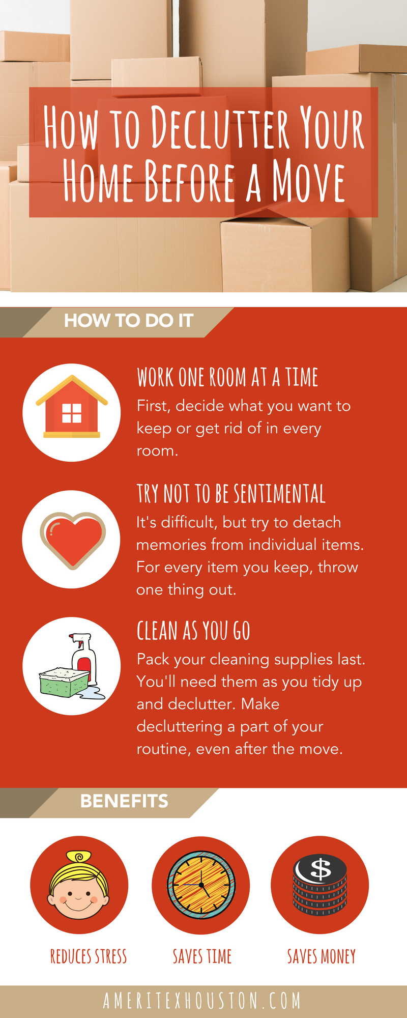 how to declutter before a move infographic