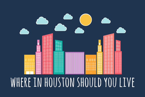 where to live in houston - graphic with skyscrapers