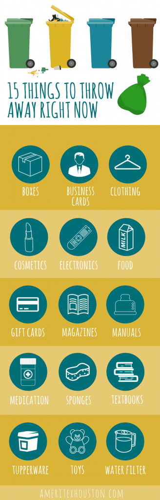 infographic of items to throw away to declutter before moving