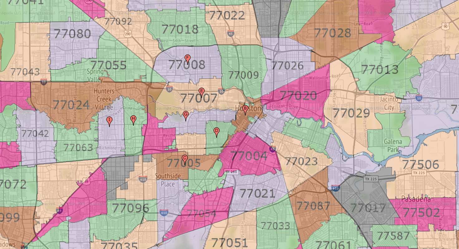 Greater Houston Area Zip Code Map.Houston Zip Code Maps Ameritex Houston Movers